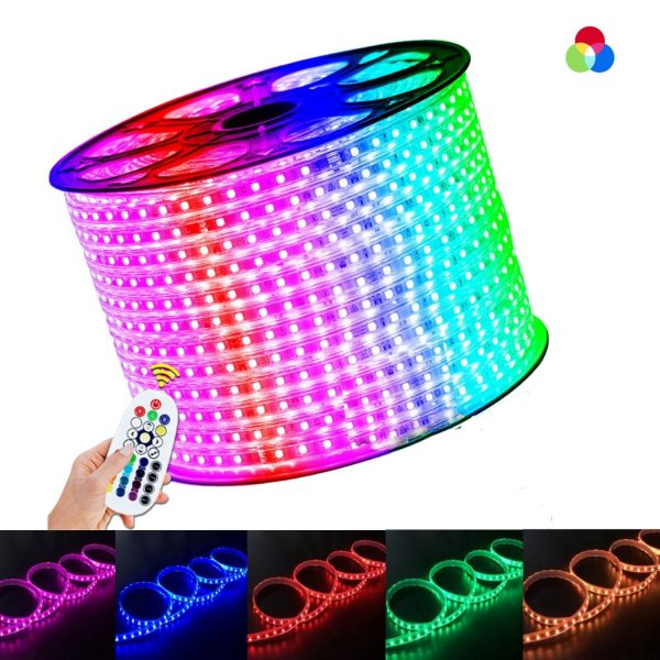 RGB LED Strip 60LED_m 3 Line LED STRIP 220V WITH WIRELESS BLUETOOTH CONTROLLER & APP