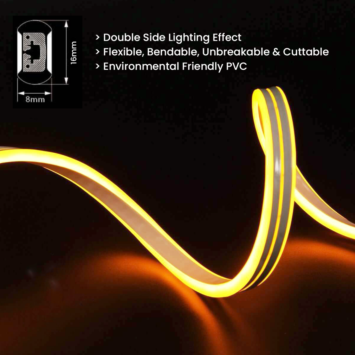 double side neon flex warm white 220v