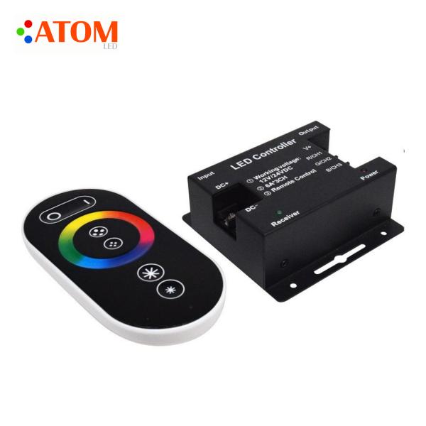 ATOM LED 12V_24V RGB LED Strip Controller with Touch Remote 18A 3 Channel RGB LED Controller with RF Remote Control (1)