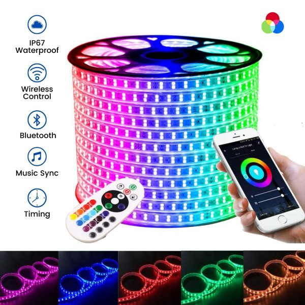 ATOM LED RGB 144LED_m 3 Line LED STRIP 220V WITH WIRELESS BLUETOOTH CONTROLLER & APP (1)