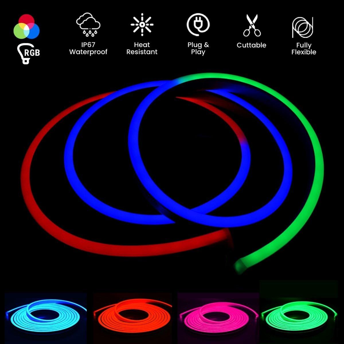 RGB Neon Flex 12V 10 x 20mm IP67 - ukledlights.co.uk