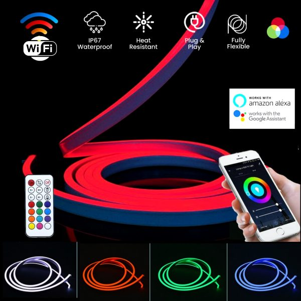 ATOM LED RGB NEON FLEX 12V WIFI Control 10x20mm WITH WIRELESS BLUETOOTH CONTROLLER & APP