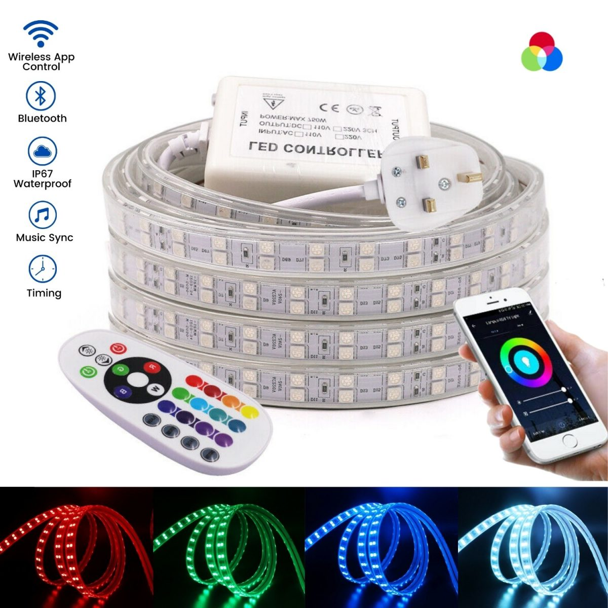 RGB LED Strip 220V 120LED_m Wireless Bluetooth